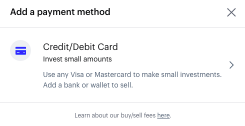 Add payment method screen Coinbase