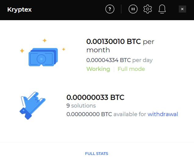 Kryptex Estimated Earnings